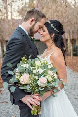 Bride and groom wedding photo at Hawkesdene in Andrews NC