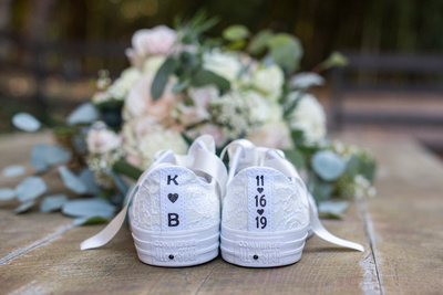 Custom converse wedding shoes at Hawkesdene wedding
