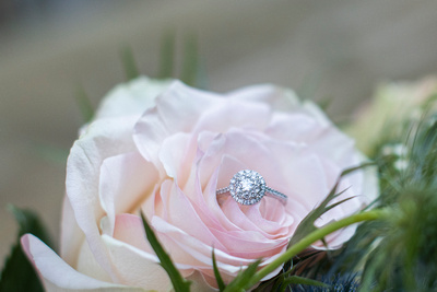 Engagement ring in rose bouquet at Hawkesdene wedding