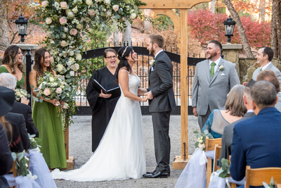 Fall wedding ceremony laughter at Hawkesdene