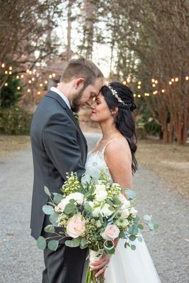Fall wedding photo at Hawkesdene in Andrews NC at sunset