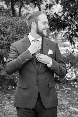 Groom getting ready at Hawkesdene wedding