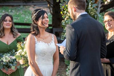 Hawkesdene wedding ceremony at sunset