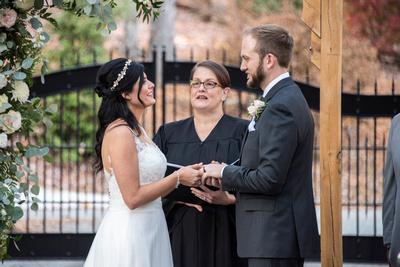 Hawkesdene wedding ceremony in driveway