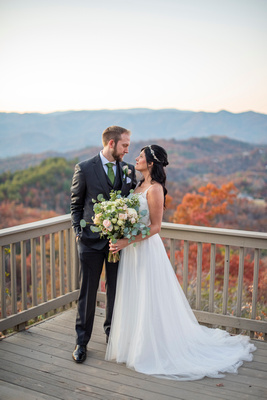 Mountain top wedding portrait at Hawkesdene in Andrews NC