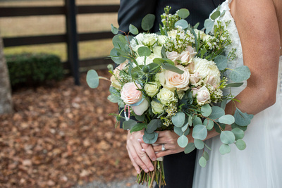 Rose and greenery wedding bouquet at Hawkesdene in Andrews NC
