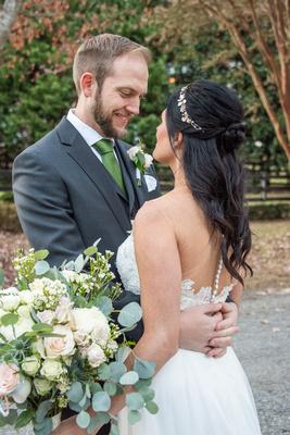 Wedding portrait at Hawkesdene in Andrews NC
