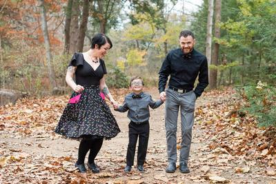 Family of three fun photo idea in Asheville