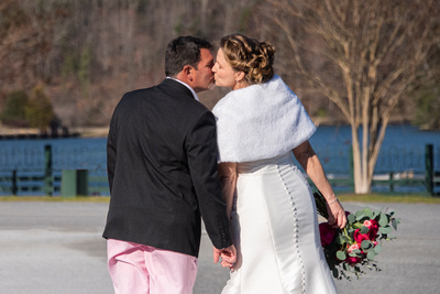Bride and groom kissing at The 1927 Lake Lure Inn and Spa