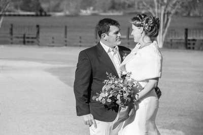 Bride and groom portrait in black and white during winter at The 1927 Lake Lure Inn and Spa