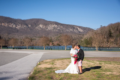 Bride and groom portrait in Lake Lure at The 1927 Lake Lure Inn and Spa during winter