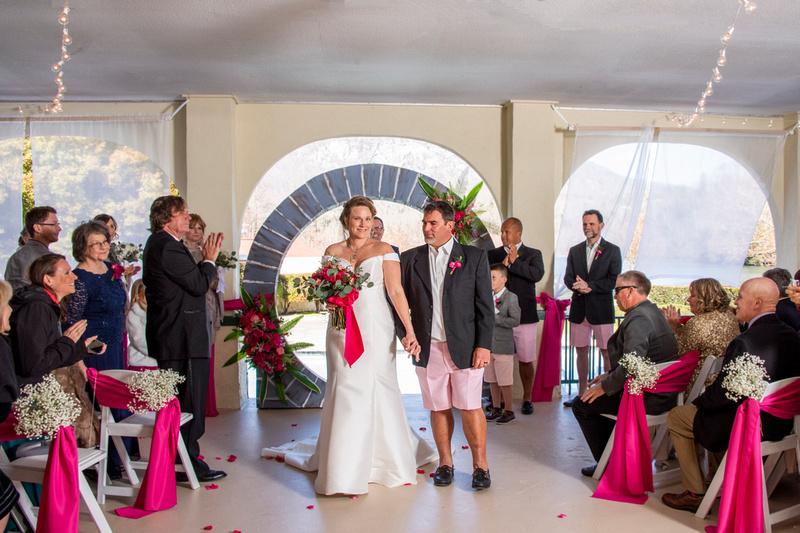 Wedding recessional at The 1927 Lake Lure Inn and Spa