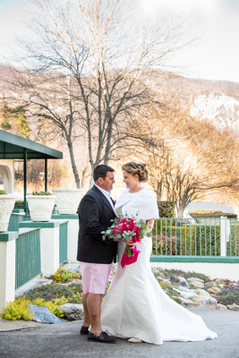 Winter wedding photos at The 1927 Lake Lure Inn and Spa near Asheville