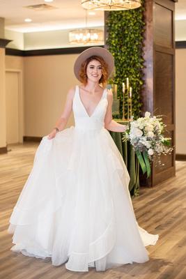 Bride at downtown Brevard wedding vanue The Shamrock Room