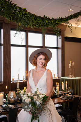 Bride at downtown wedding venue near Asheville The Shamrock Room in Brevard NC