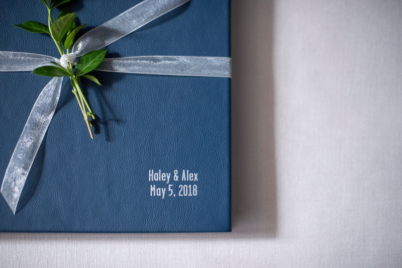 Jessica Merithew Photography leather wedding album in Asheville