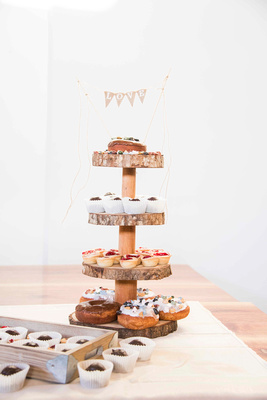 Wedding dessert tower with donuts and mini pies at Highland Brewing in Asheville
