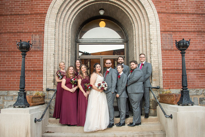 Wedding party photo in downtown Asheville at Masonic temple