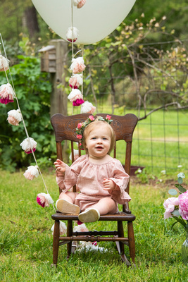 One year baby girl photo at The NC Arboretum in Asheville