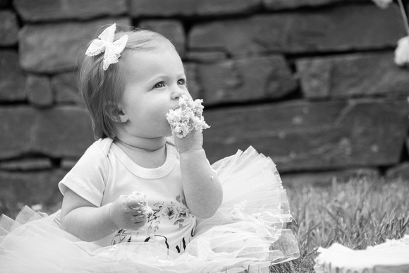 One year old girl eaating cake in black and white in Asheville at The NC Arboretum
