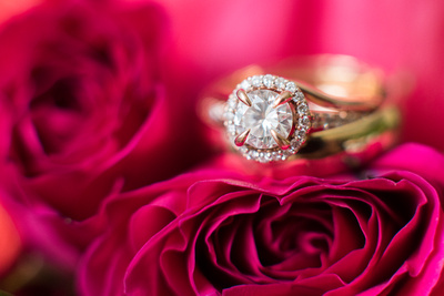 Wedding rings on deep pink rose at Lake Logan Conference Center wedding