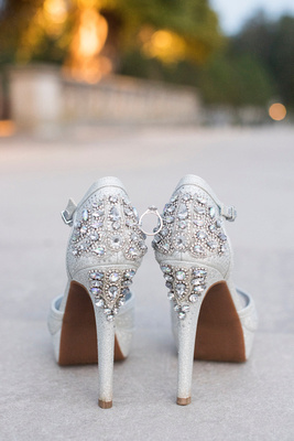 Biltmore wedding details of bride's heels and engagement ring