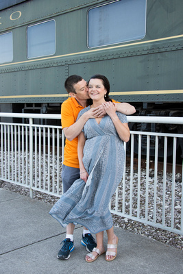 Engagement photo at Volunteer Landing in Knoxville