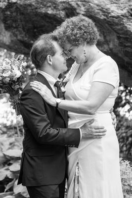 Bride and groom portrait at The Esmeralda Inn Chimney Rock