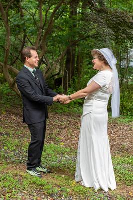 Wedding couples first look at The Esmeralda Inn Chimney Rock