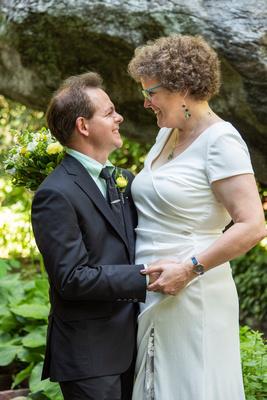 Happy bride and groom at The Esmeralda Inn Chimney Rock