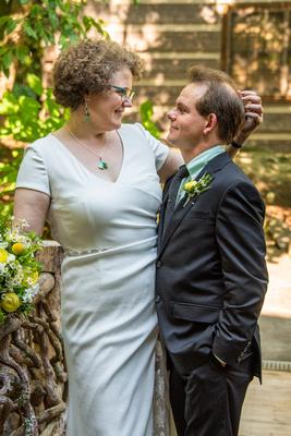 Bride and groom photo at The Esmeralda Inn Chimney Rock