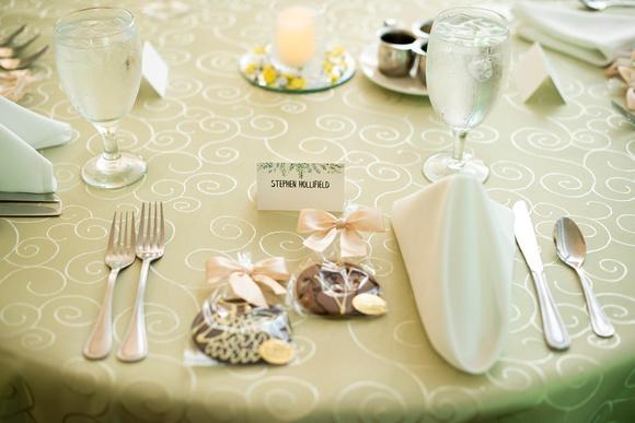 Wedding reception place setting at The Esmeralda Inn Chimney Rock