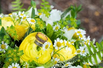 Summer wedding bouquet by Shady Grove Flowers at The Esmeralda Inn Chimney Rock