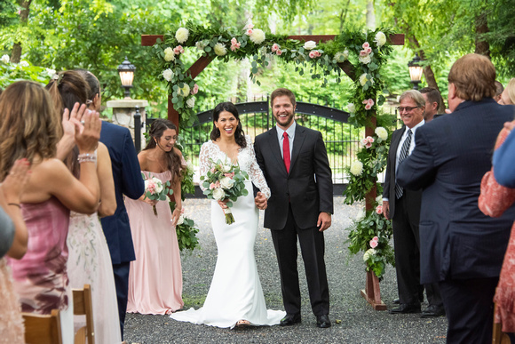 Bride and groom announced at wedding at Hawkesdene in Andrews near Asheville