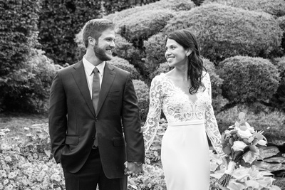 Bride and groom in black and white at summer wedding at Hawkesdene in Andrews near Asheville