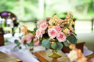 Floral wedding centerpiece at Hawkesdene at Hawkesdene in Andrews near Asheville