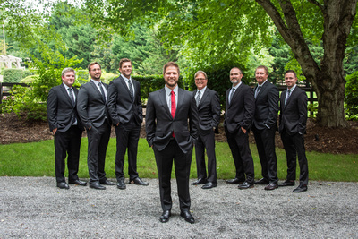Groom and groomsmen portrait at Hawkesdene in Andrews near Asheville