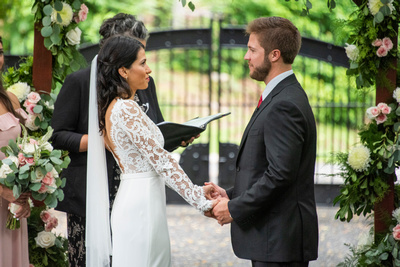 Wedding vows during ceremony at Hawkesdene in Andrews near Asheville