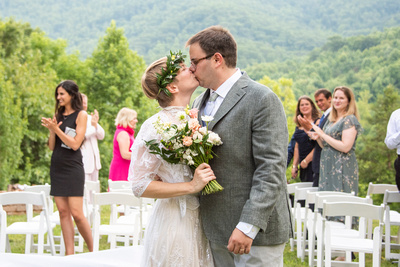 Bride and groom at Engadine Inn in Asheville