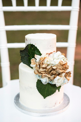 Two tier wedding cake by Short Street Cakes at Engadine Inn summer wedding in Asheville