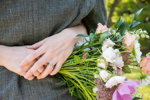 Wedding rings and bouquet at Engadine Inn in Asheville