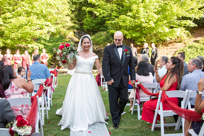 Bride and groom after ceremony at The Lodge at Flat Rock near Asheville
