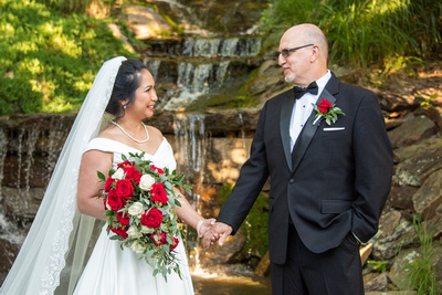 Bride and groom holding hands in front of waterfall near Asheville at The Lodge at Flat Rock
