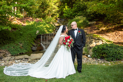 Bride and groom portrait in front of waterfall at The Lodge at Flat Rock