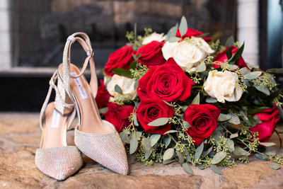 Brides bouquet and shoes at The Lodge at Flat Rock near Asheville