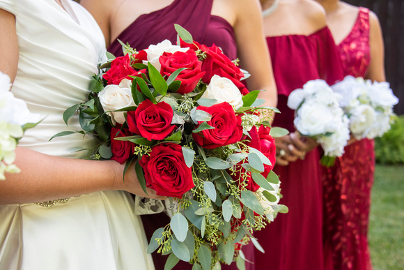 Red and white rose bridal bouquet at The Lodge at Flat Rock in Hendersonville