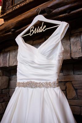 Wedding dress hanging at The Lodge at Flat Rock