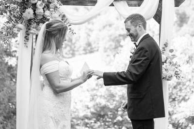 Black and white photo of ceremony at Engadine Inn Wedding in Asheville