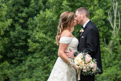 Bride and groom portrait at Engadine Inn Wedding in Asheville