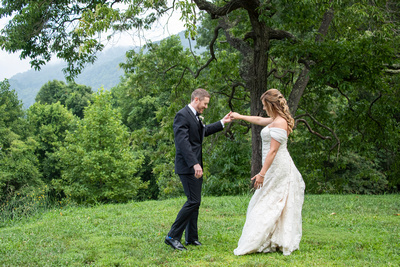 First look with mountain view at Engadine Inn Wedding in Asheville